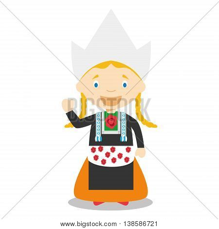 Character from Holland or Netherlands dressed in the traditional way Vector Illustration. Kids of the World Collection.