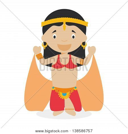 Belly dancer girl dressed in the traditional way Vector Illustration. Kids of the World Collection.