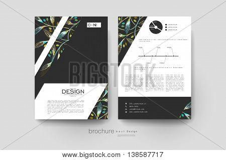 autumn leaf ornament vector brochure template. Flyer Layout. Creative modern design