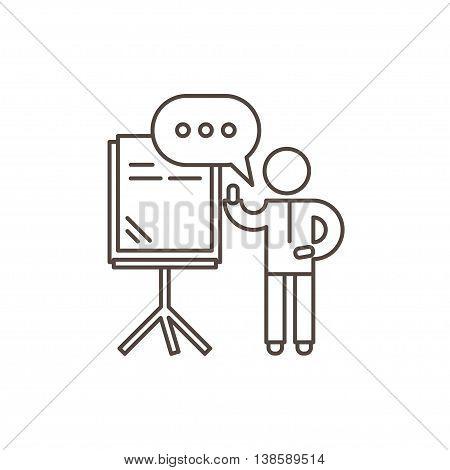 Training seminar concept. Speaker stands near the presentation board and holds seminar. Outline vector illustration.