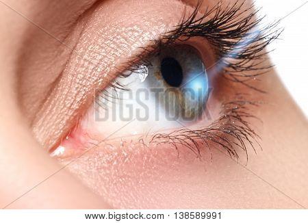 Laser Vision Correction. Woman's Eye. Human Eye. Woman Eye