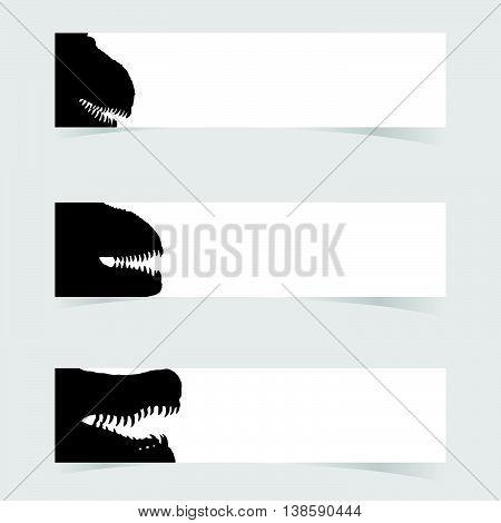 Dinosaurus Head With White Banner Set One Illustration