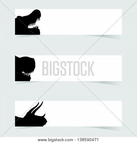 Dinosaurus Head With White Banner Set Two Illustration
