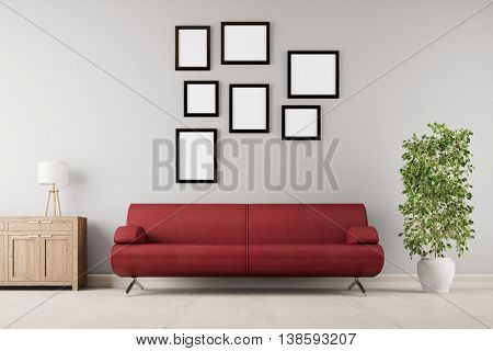 Many empty picture frames hanging on wall over a sofa in a living room (3D Rendering)