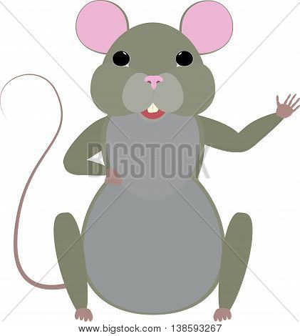 Cute cartoon mouse isolated on white. vector illustration.