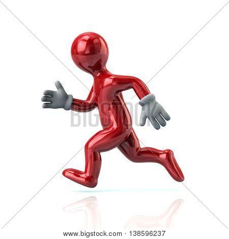 3D Illustration Of Running Red Man