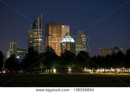 Skyline of the Hague Den Haag with Skyscrapers at night seen from Malieveld the Netherlands