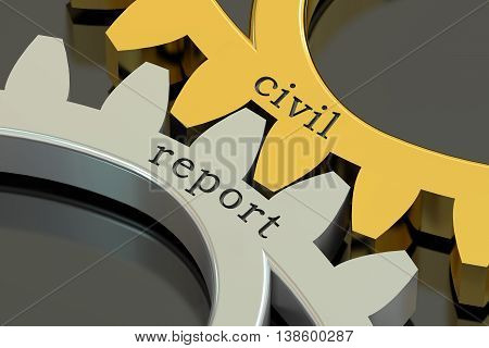 Civil Report concept on the gearwheels 3D rendering