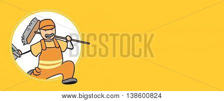Cartoon garbage disposal man running with a trashcan