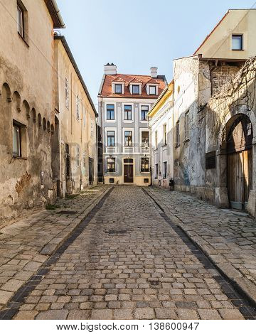 BRATISLAVA SLOVAKIA - 29th April 2016: Old streets in Bratislava during the day showing buildings and cobbled streets.