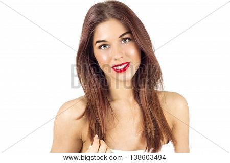 Smiling tanned woman with red lips. Woman with red lips. Woman after tanning