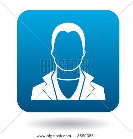 Avatar man macho icon in simple style in blue square. People symbol