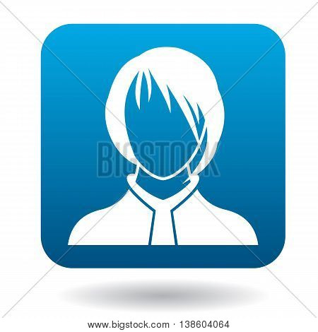 Avatar woman with a caret icon in simple style in blue square. People symbol