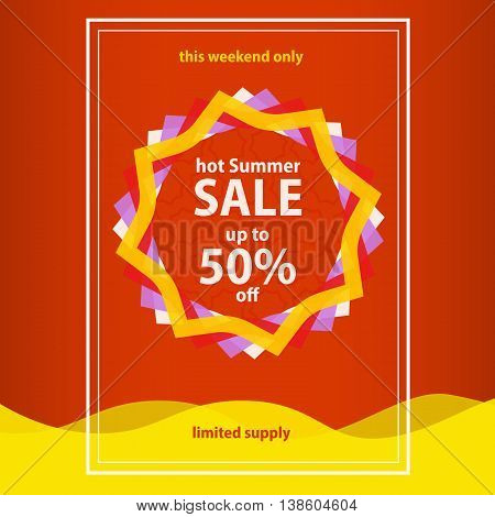 Summer sale banner template. Red summer Sale poster. Abstract sun and water wave. summer background sun patterned colored wave. Vector Graphics.