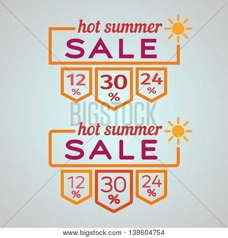 Banner Frame summer discounts. Summer sale banner template. The sun and the text in the box. Vector Graphics. The Flat pattern of summer discounts.