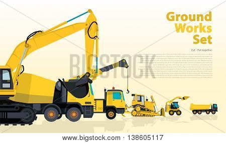 Yellow set of construction machinery machines vehicles, excavator. Construction equipment for building. Truck, Digger, Crane, Bagger, Mix, master vector illustration, nice ground works typography page