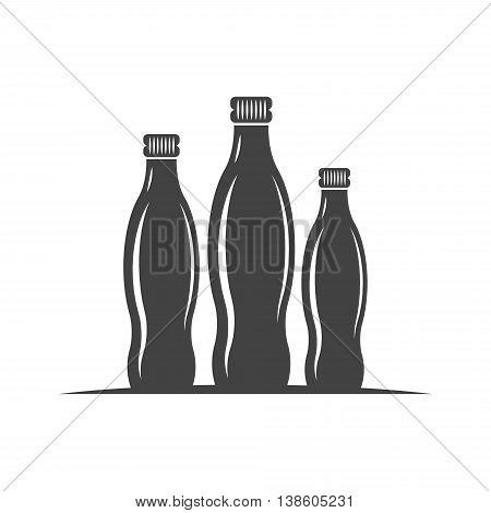 Three bottles with screw cap. Black icon logo element flat vector illustration isolated on white background.
