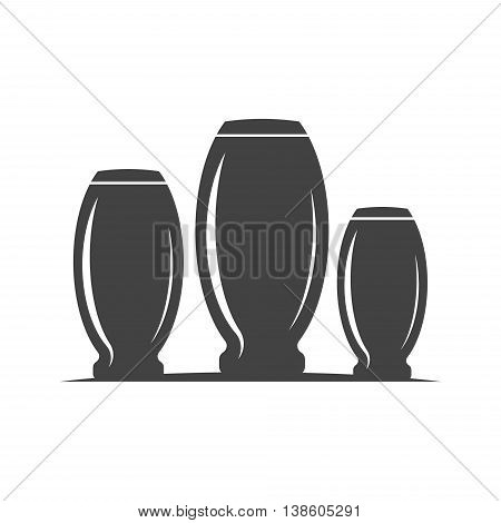 Collins type highball three glasses barrel shape. Black icon logo element flat vector illustration isolated on white background.