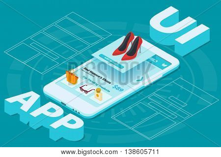 The process of developing the site interface. Mobile app development 3d flat isometric illustration with smartphone. Sketch mobile website. User interface UI