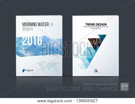 Brochure template layout, cover design annual report, magazine, flyer, leaflet in A4 with blue triangle, arrow with overlap effect for business and construction idea. Vector set.