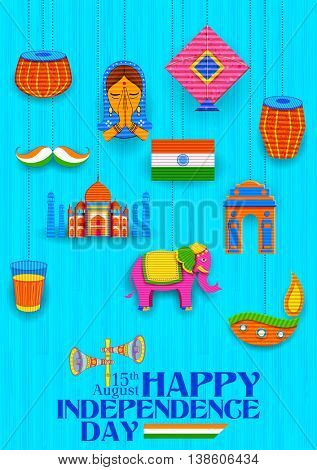 illustration of Happy Independence Day banner in Indian kitsch paper style