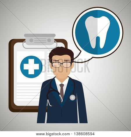 doctor stethoscope specialist history clinic vector illustration icon poster