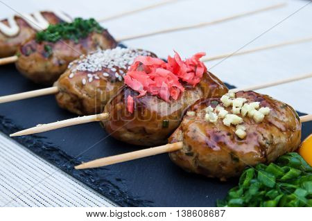 Japanese Cuisine, Chicken Meat Ball Yakitori Tsukune