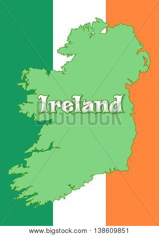 Map of Ireland on the background of the flag of Ireland. Irish tricolour. Irish Republic. High resolution Ireland map with country flag. Vector illustration
