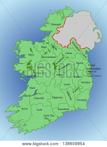 Vector map of Ireland. Republic of Ireland. Map of Ireland with the division into counties. Thirty-one local authorities - 26 county councils two city and county councils and three city councils.