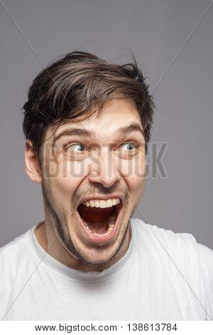 Shocked Amazed Terrified Portrait.