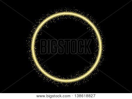 circle glittering stars line sparkling particles. Space shinning glitter comet tail. Vector. laser , bokeh line
