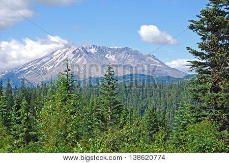 Mount Saint Helens volcano in Washington State.  Landscape view. Taken in July 2016.