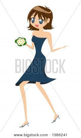 Cute Cartoon Girl With Flowers