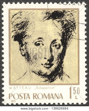 MOSCOW RUSSIA - CIRCA FEBRUARY 2016: a post stamp printed in ROMANIA shows self-portrait of Antoine Watteau the series