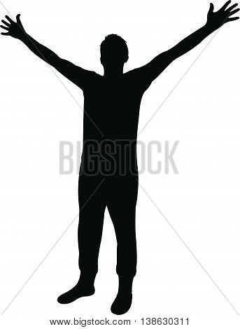 a man open up his arms, silhouette vector
