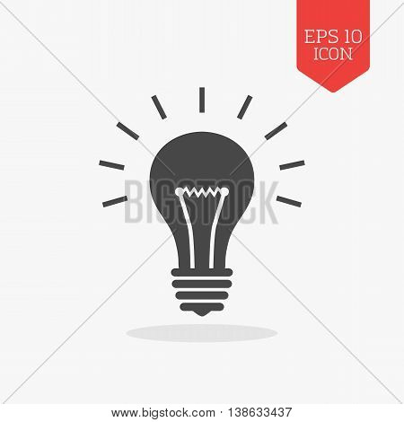 Lightbulb Icon. Flat Design Gray Color Symbol. Modern Ui Web Navigation, Sign.