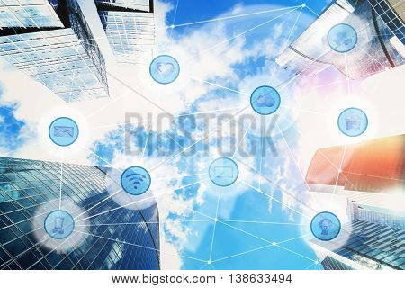city and wireless communication network, IoT Internet of Things and ICT Information Communication Technology concept poster