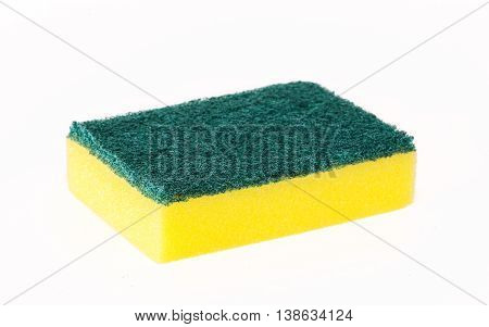 Sponges for washing dishes on a white background.