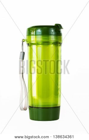 Plastic Bottle drink travel green on a white background.