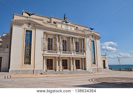 Ortona, Abruzzo, Italy: the Ortona, Abruzzo, Italy: the municipal theater (Teatro Vittoria - 1930) a fine example of neoclassical architecture  theater (Teatro Vittoria - 1930) a fine example of neoclassical architecture poster