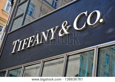 VIENNA AUSTRIA - JUNE 6 2016: Logotype of Tiffany and Co flagship store in Vienna on June 6 2015. Tiffany&Co is an American worldwide luxury jewelry and specialty retailer.