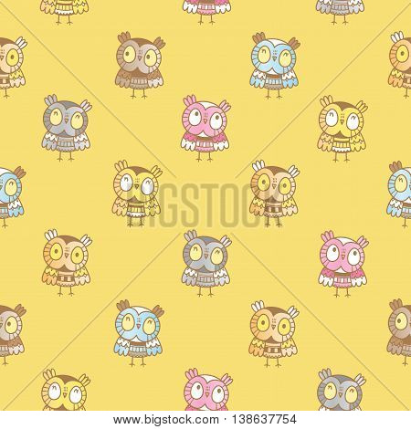 Seamless pattern with cute cartoon owls on yellow background. Funny forest birds. Little colorful owlets. Children's illustration. Vector image.