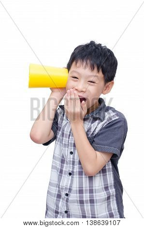 Asian boy listening to conversation isolated white background.