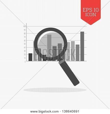 Magnifying Glass Over Chart Icon. Analysis Concept. Flat Design Gray Color Symbol. Modern Ui Web Nav