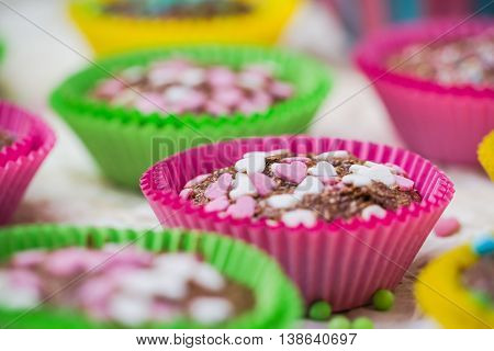 Cookies Lovers Colorful Muffins Hearts