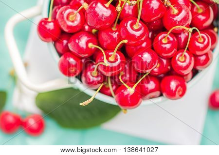 Fresh Red Cherry Fruit Green Colander