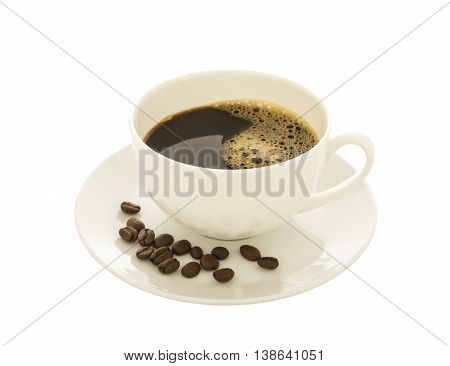 Coffee cup and coffee beans on white background.