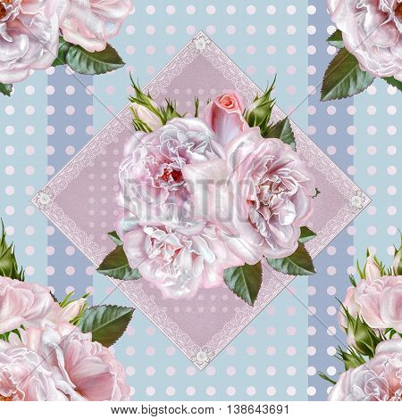 Pattern seamless. Old style. Bouquet of flowers and pastel pink roses. Floral background. Fine weaving lace mosaic. Damascus ornament