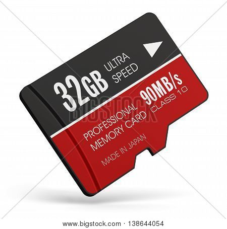 3D render illustration of high speed 32 GB Class10 professional MicroSD flash memory card for usage in smartphones, tablet computer PC, mobile phones, photo cameras and other devices isolated on white background