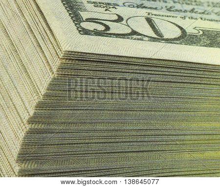 banking pack of dollar banknotes detail macro